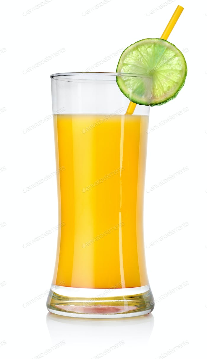 Orange cocktail in a big glass