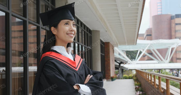 Graduation woman thinking of future
