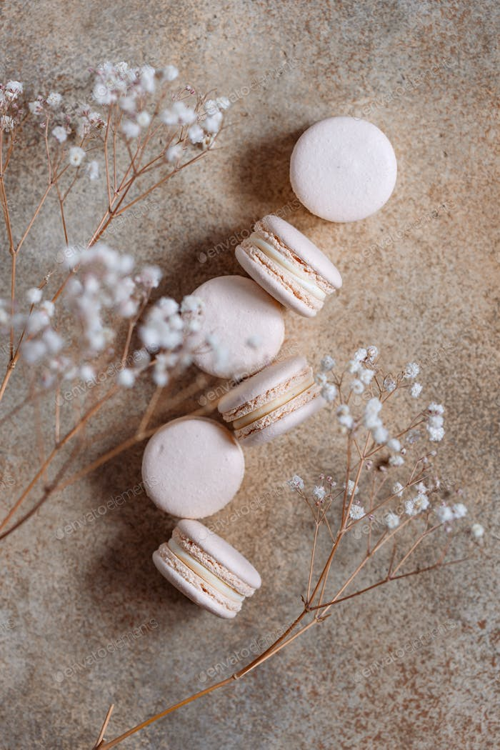 Beige almond french macaroons