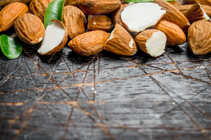 Almonds with leaves.