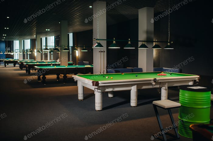 the location of the snooker balls on green pool table.Lots of pool tables