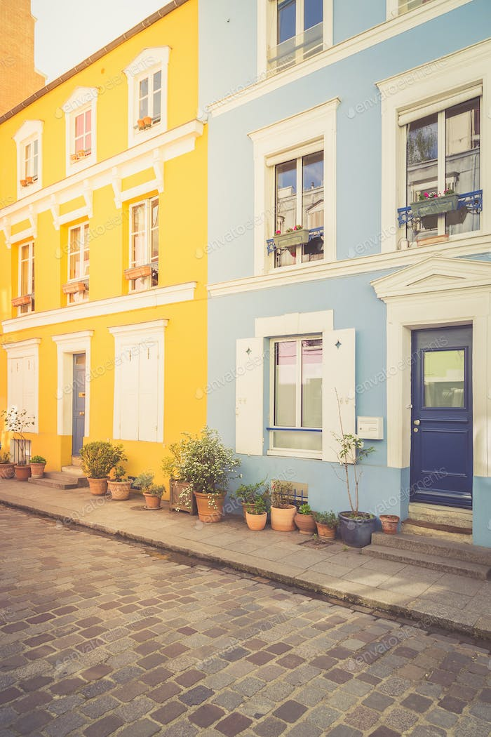 Colorful houses in Paris