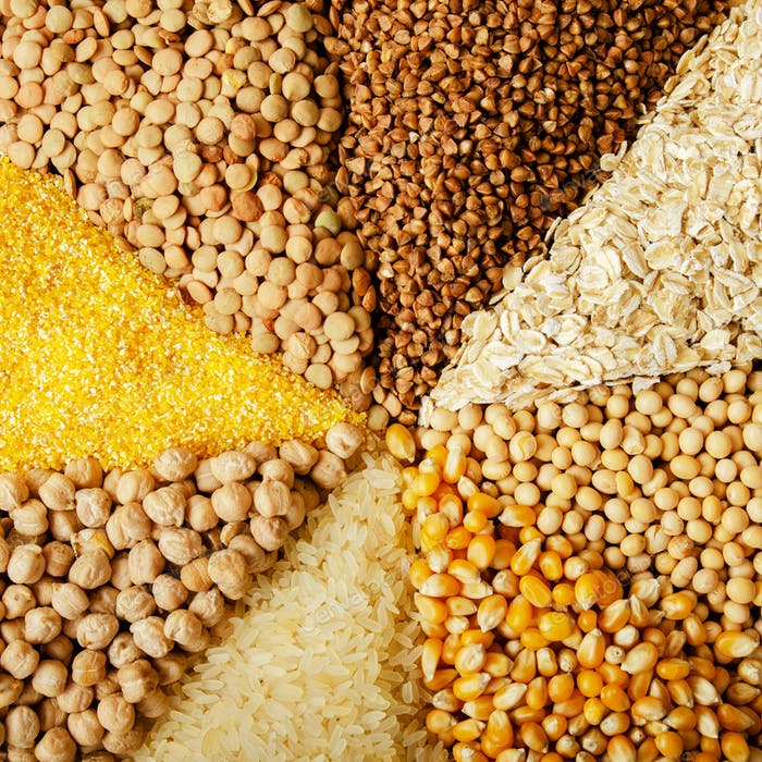 Flat lay food background made of legumes cereals and grains