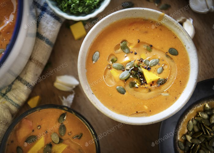Pumpkin soup food photography recipe idea