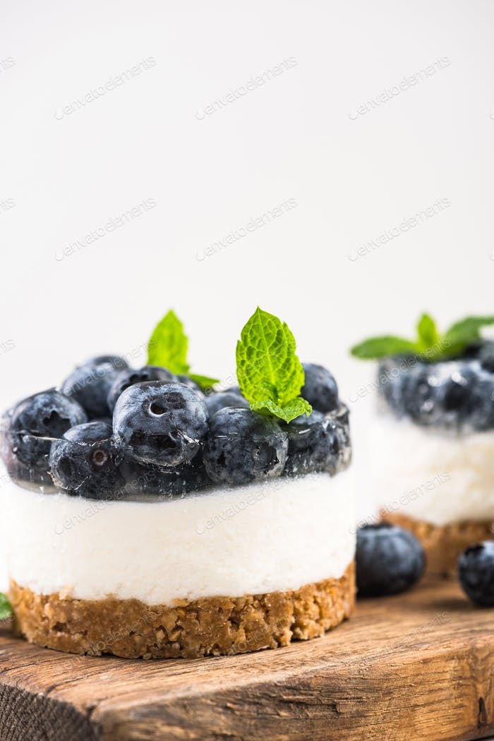 Serving portion of blueberry cheesecake