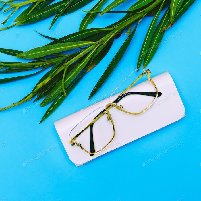 Fashion Glasses. Stylish Eyewear accessory. Flat lay Minimal tre