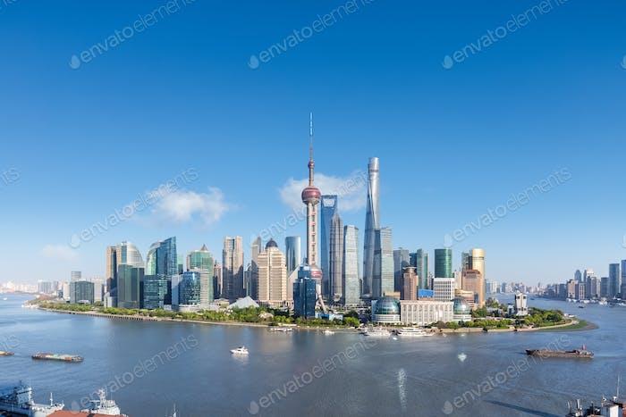 shanghai skyline in afternoon