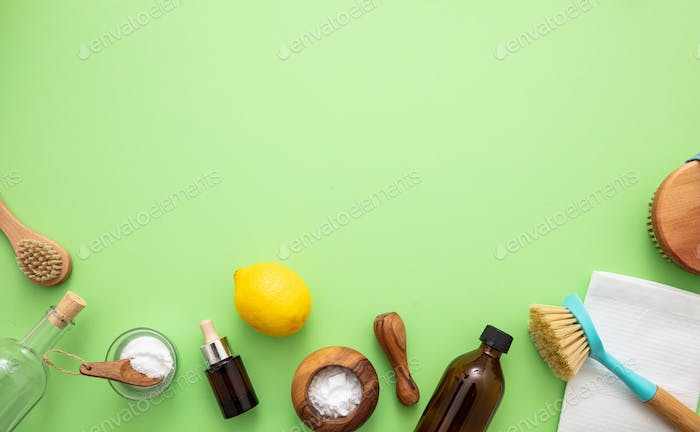 Cleaning eco products background, soda, lemon, vinegar