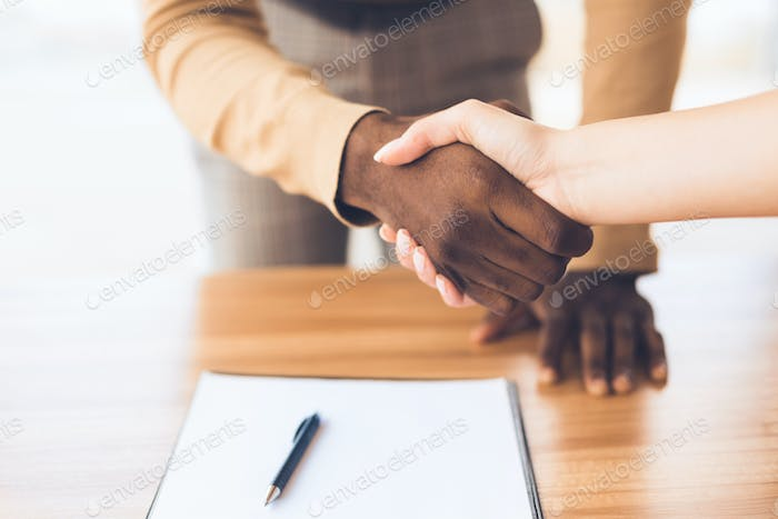 Successful business people shaking hands closing deal