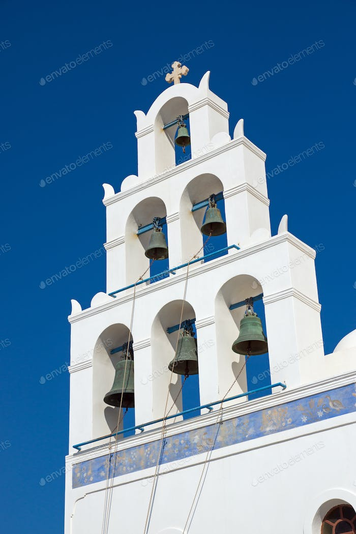 Belltower of a church in Oia