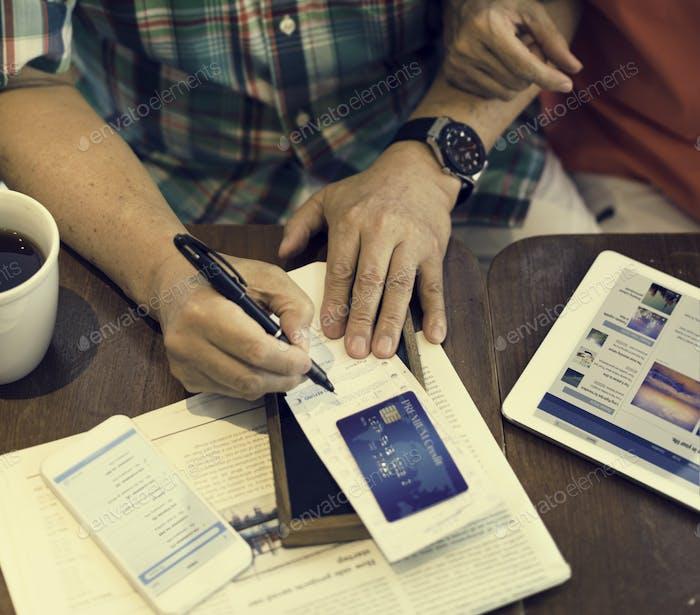 Senior Couple Paying Bill Concept