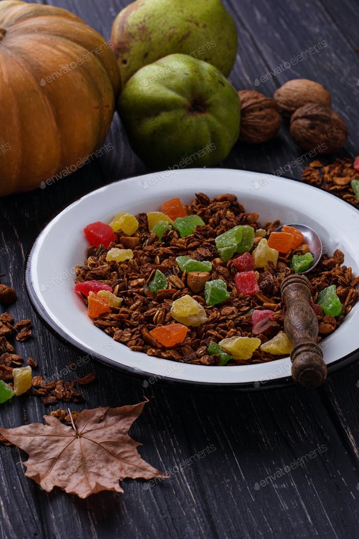 Autumn granola with candied fruit