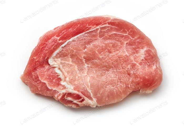 Scheibe rohes Schweinefleisch