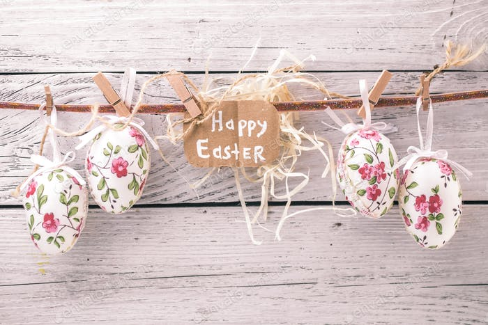 Easter eggs on a string