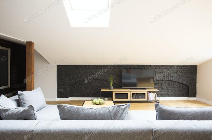 Television on brick wall