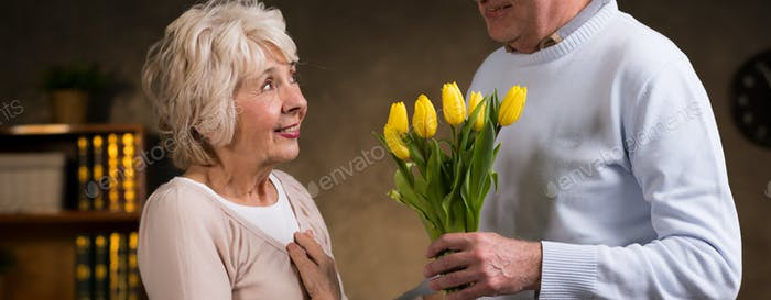 Elderly woman and her partner