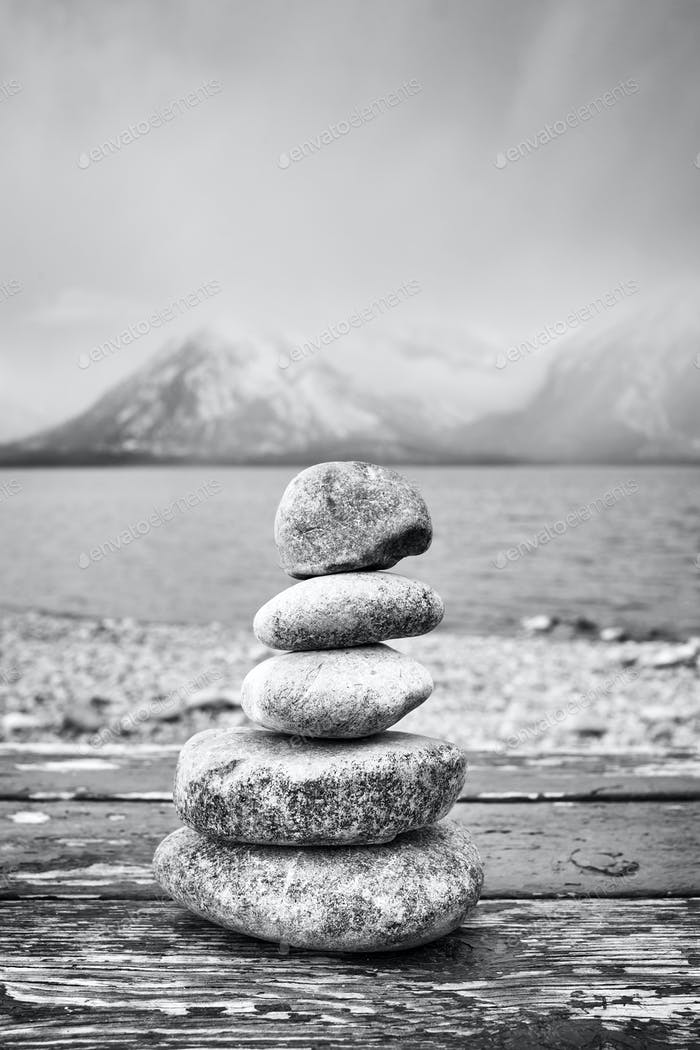 Black and white picture of balanced stones.