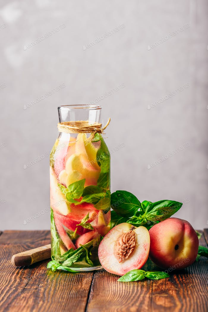Infused Water with Peach and Basil