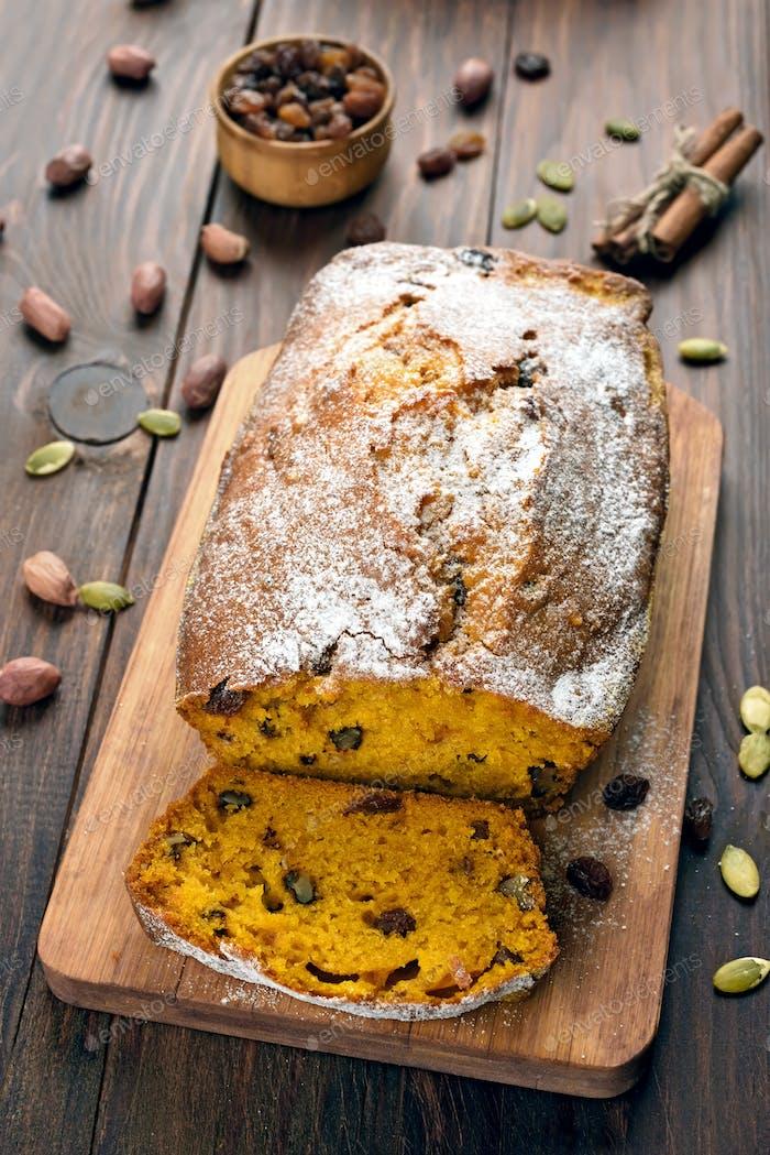 Sliced pumpkin bread loaf