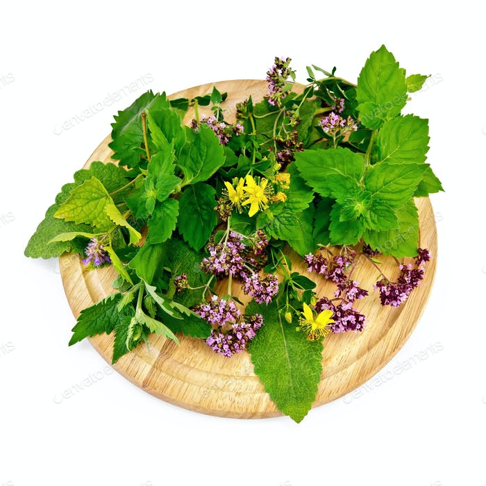 Herbs on a round board