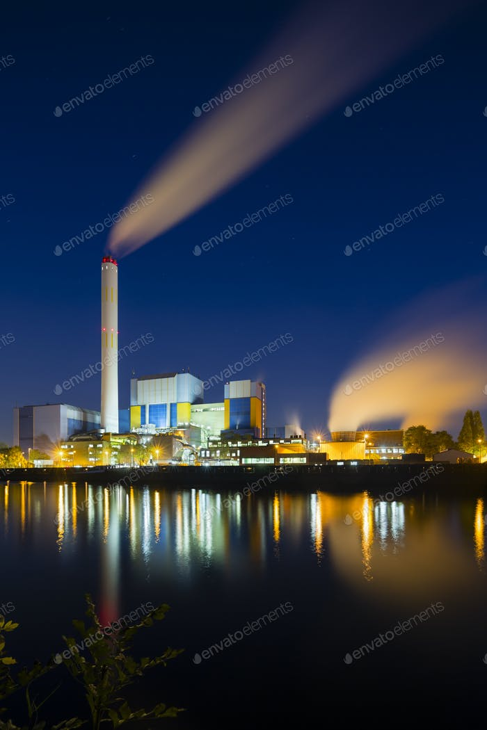 Waste Incineration Plant At Night