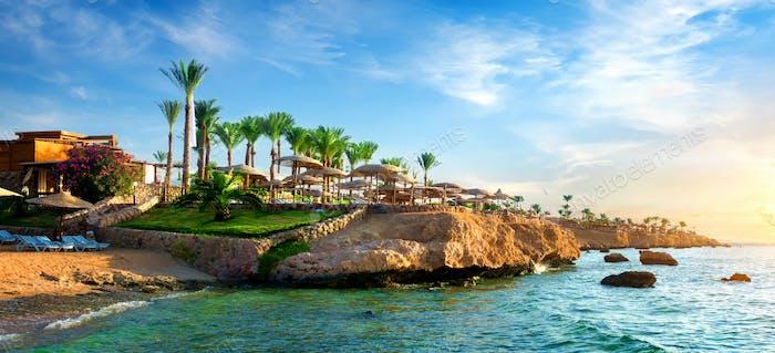 Blick auf das ägyptische Hotel