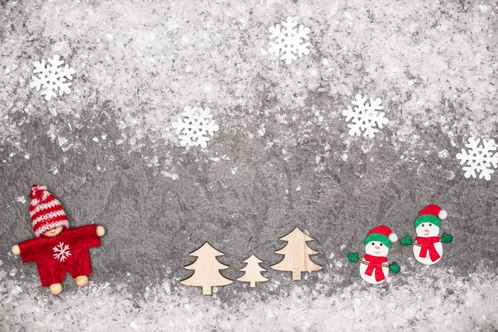 Christmas greeting card. Noel festive background. New year symbol. Children playing theme..
