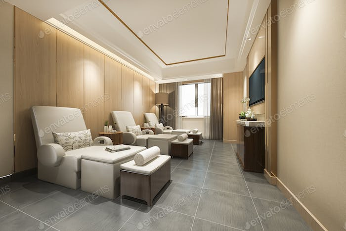 3d rendering spa and massage wellness in hotel suite