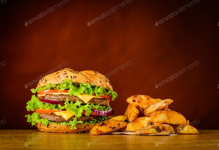 Fast Food Burger and Fried Potatoes
