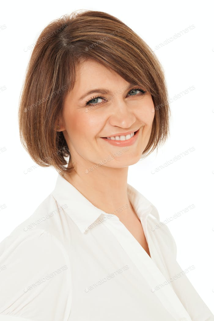Beautiful adult woman looking at camera