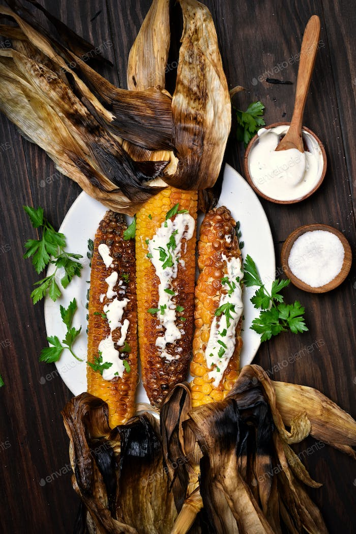 Grilled corn, top view