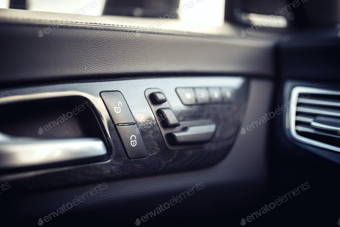 modern window and door controls of modern car