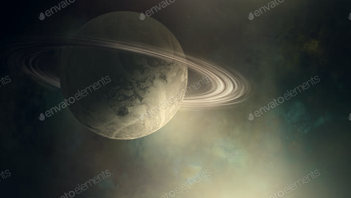 Planet with rings in outer space illustration background