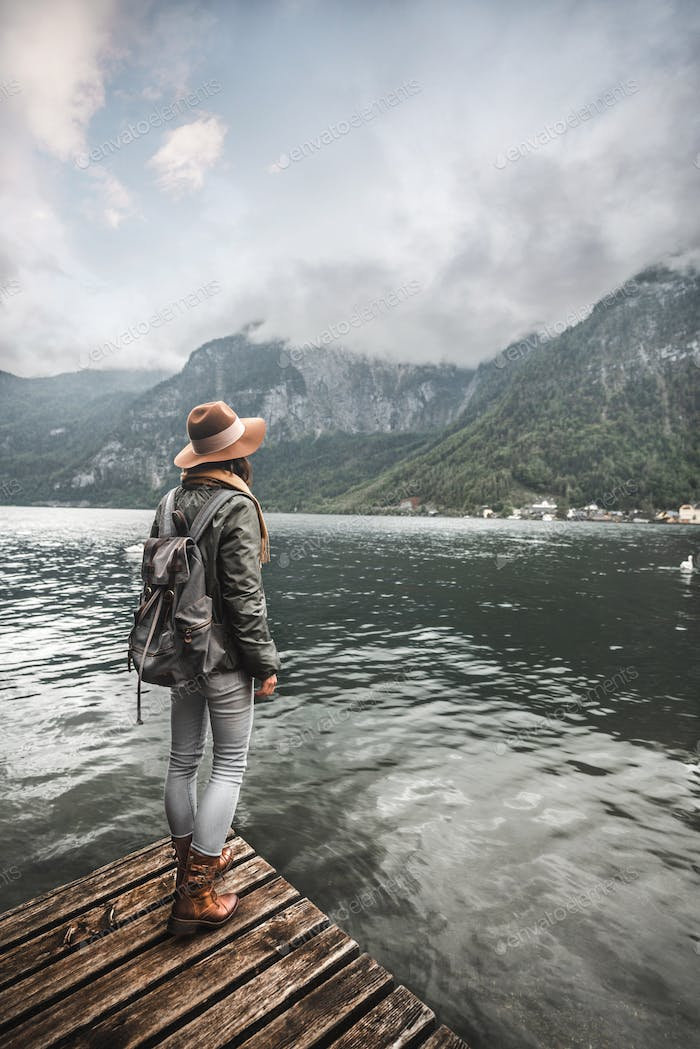 Young girl by the lake in Austria