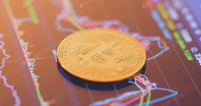 Bitcoin on stock market display screen