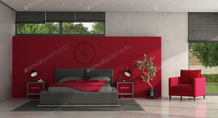 Minimalist red and gray master bedroom