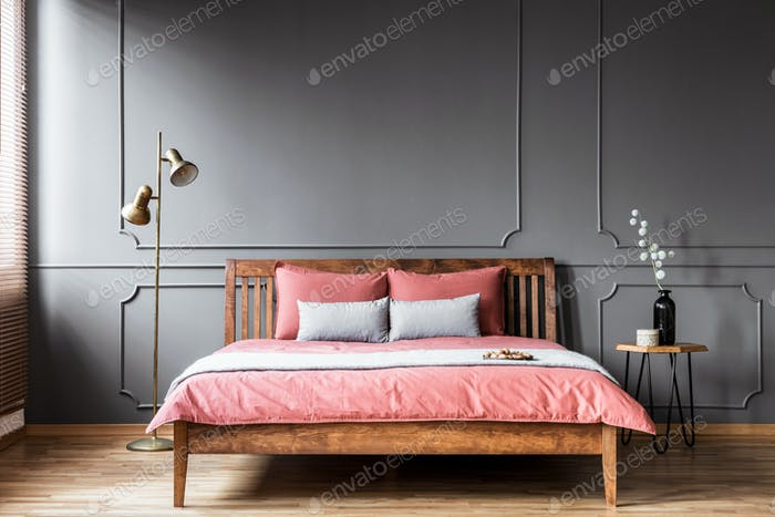 Pink and grey bedroom interior