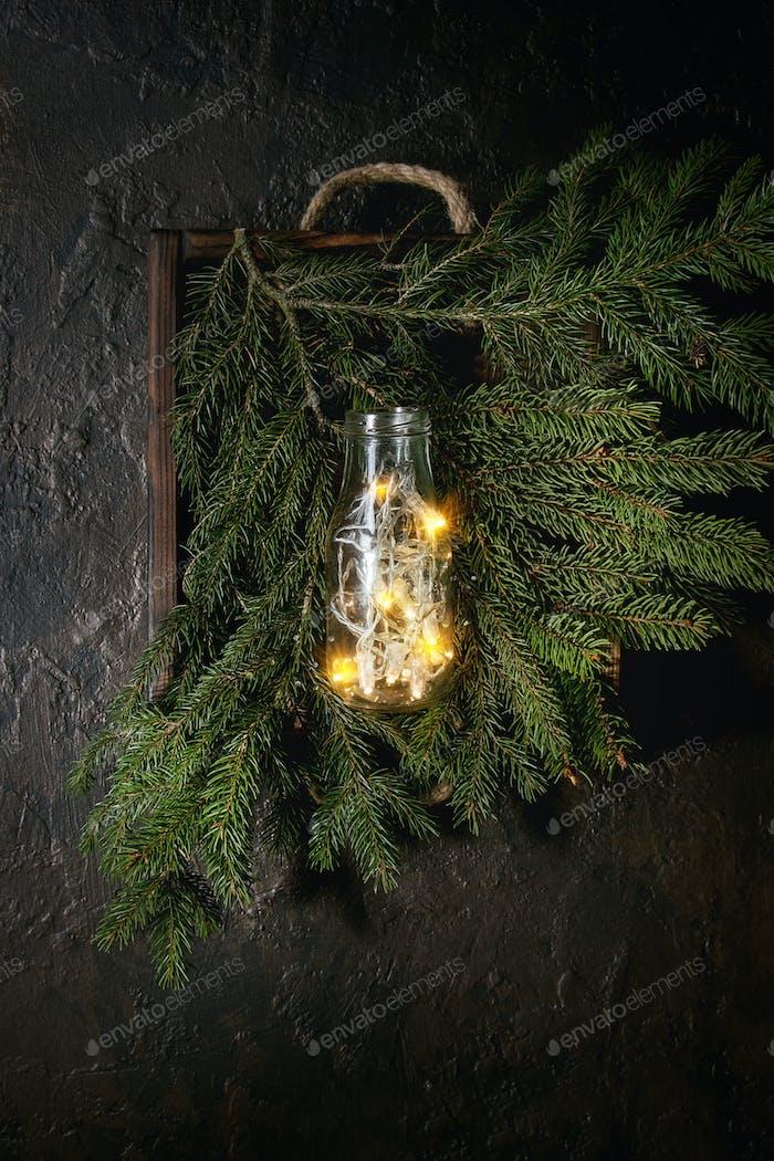 Christmas lights in bottle