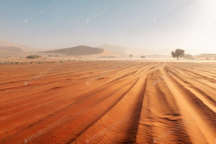 Sandstorm in Sossusvlei in the Namib desert