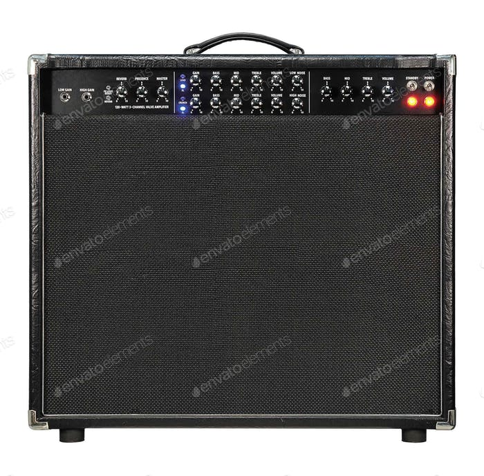 Guitar amplifier isolated on white.