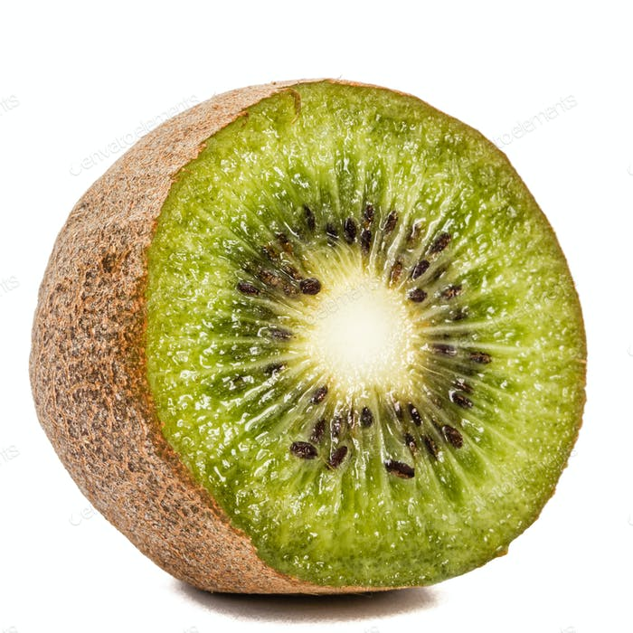 One kiwi fruit, isolated on white background