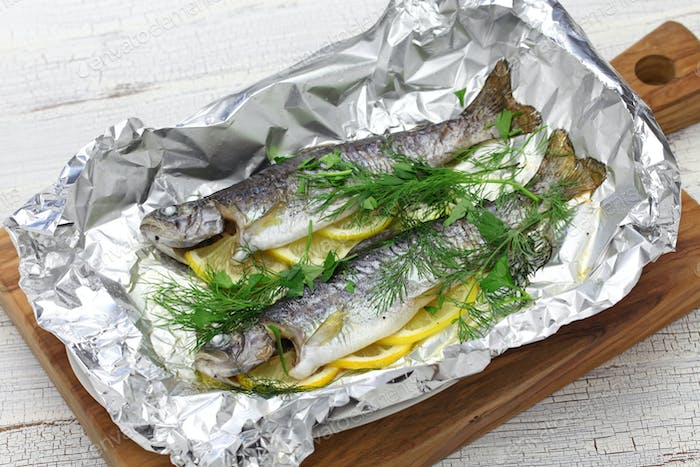 whole rainbow trout baked in foil