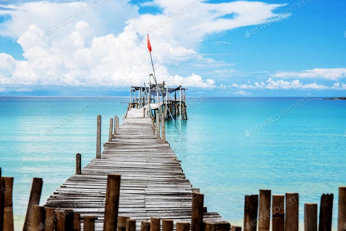 Wooden bridge at the sea
