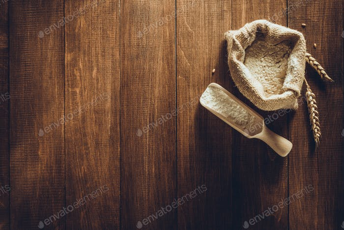 wheat flour on wood