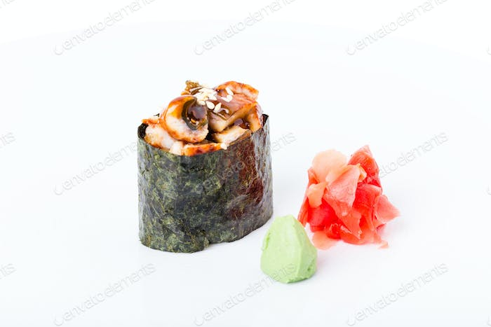 Gunkan sushi stuffed with smoked unagi.