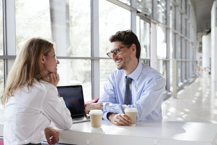 Businesswoman and businessman at a meeting, smiling
