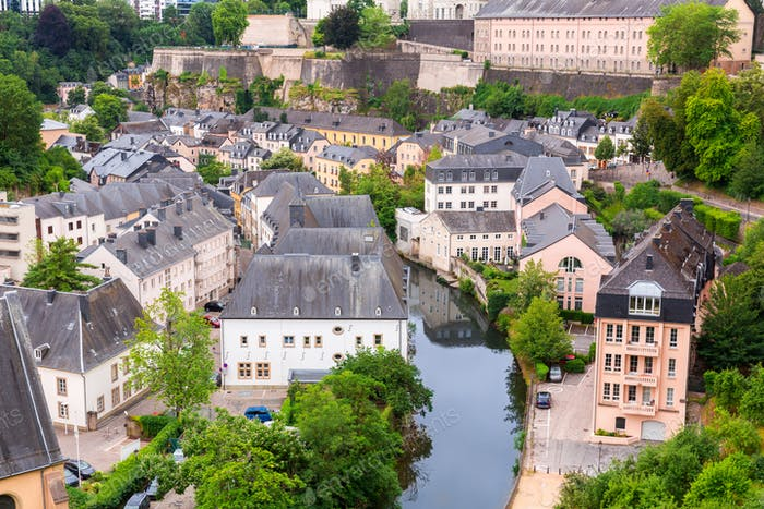 Luxembourg cityscape, church on river, panorama
