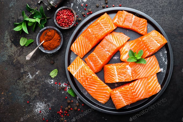 Salmon. Fresh salmon fish. Raw salmon fish fillet. Sea food