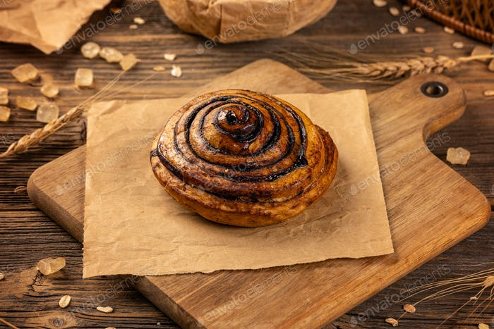 Dough filled with cocoa