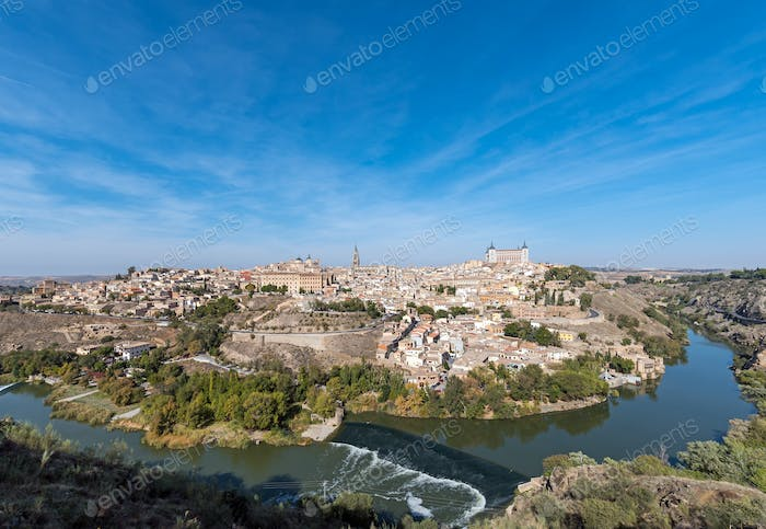 Panoramic view of Toledo with the river Tagus